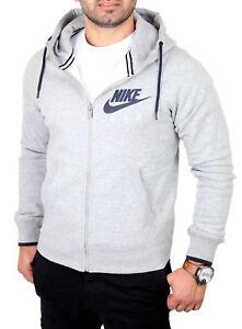 Nike-Sweat-Jacke-Herren-AW77-HERITAGE-Kapuzen-Pullover-Jacke-N-727387-Grau-NEU