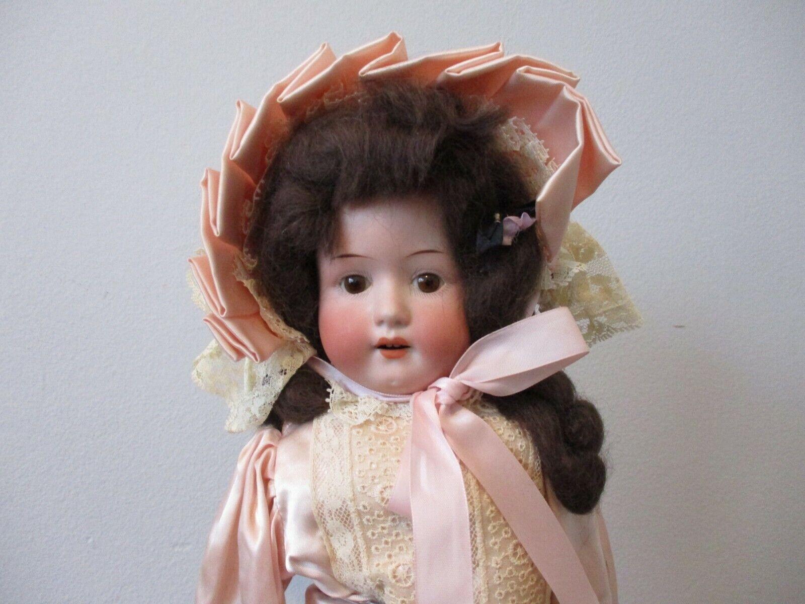 Muñeca Antigua Alemana Heubach de 18 pulgadas 1900s Victoriano niña Cuerpo De Cuero Biscuit Niño