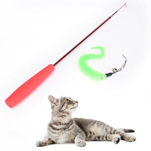 Kitten-Cat-Toy-Mouse-On-A-Rod-Teaser-Bell-Feather-Play-Pet-Dangler-Wand-CPEV