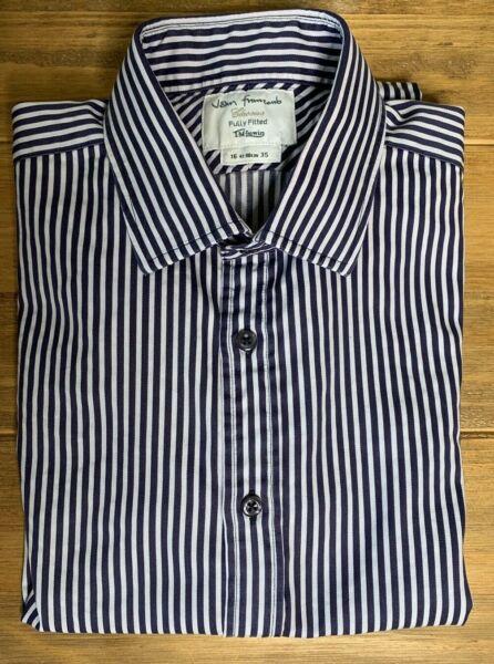 100% Vero John Francomb Camicia 35/16 Completamente Montato Blu Bianco A Strisce Doppio French Cuff