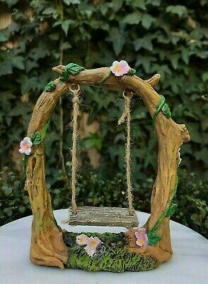 Miniature Dollhouse FAIRY GARDEN ~ Mini Pink Flower Tree with Swing /& Moss