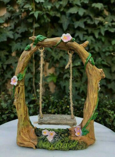 Miniature Dollhouse FAIRY GARDEN ~ Mini Tree Branch Arch with Swing ~ NEW