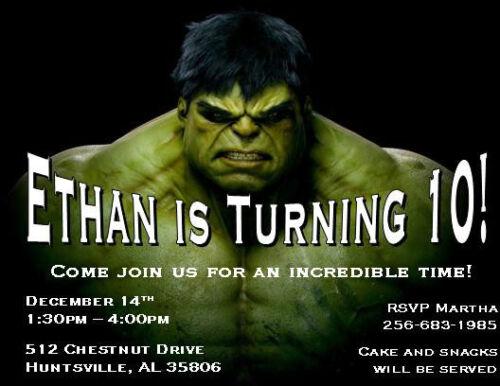 s l500 incredible hulk birthday invitations collection on ebay!,Hulk Birthday Invitations