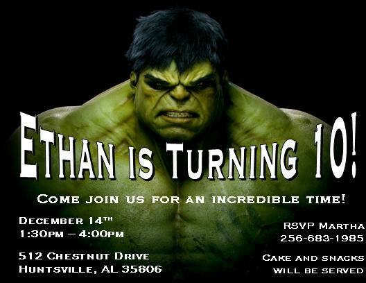 Incredible Hulk Party Supplies collection on eBay – Hulk Birthday Invitations