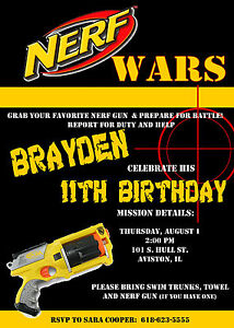 Nerf Birthday Party Invitations U-Print | eBay