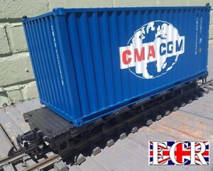 NEW-G-SCALE-SHIPPING-CONTAINER-ON-FLATBED-TRUCK-45mm-GAUGE-RAILWAY-CARGO-FREIGHT