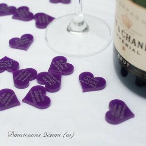 Image Is Loading Personalised 25mm Purple Acrylic Heart Wedding Table Decorations