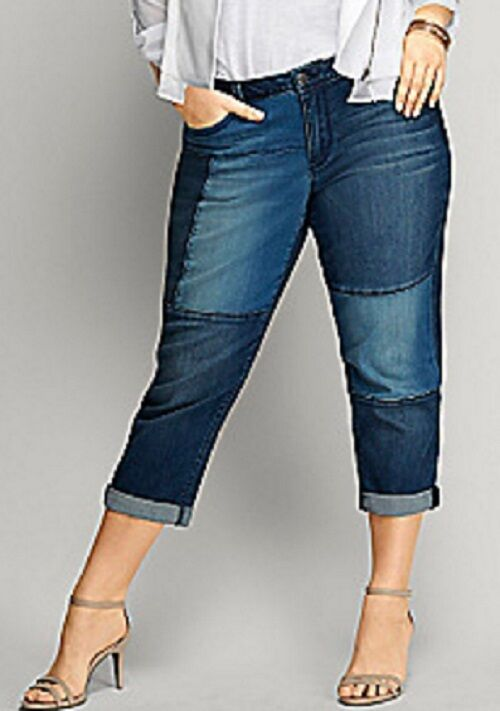 Lane Bryant Patchwork Denim Weekend Capri Med Wash Jeans Pants Plus Size 26W 4X