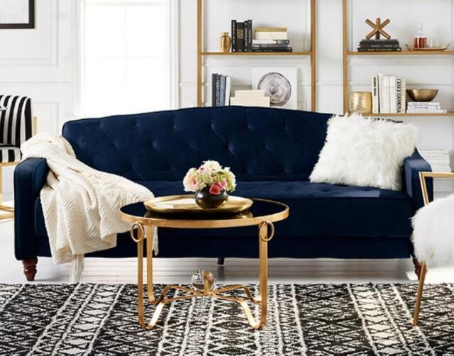 Navy Velour Tufted Upholstered Sofa Sleeper Couch Blue Living Room ...