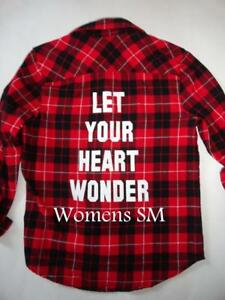 4091d91e1 Forever 21 Red Black Plaid Flannel Shirt Let Your Heart Wonder Small ...