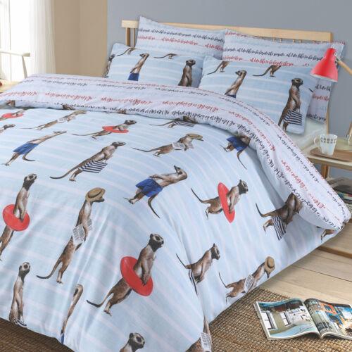 Erdmännchen Wende Bettbezug mit Kissenbezug Tier Aufdruck Bettwäsche Set