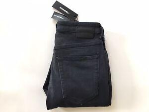 Diesel Women's Babhila Slim Skinny Jeans High Waist 086AX Black Coated W-27