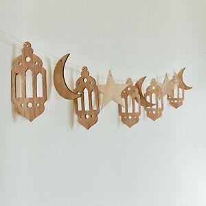 Eid-Hajj-Mubarak-Decorations-Banner-Wood-Ramadan-Lantern-stars-moon-Balloons