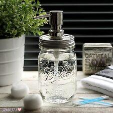 Ball Mason Jar Vintage Style Soap Dispenser with Silver & Chrome Top - UK SELLER