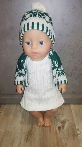 Puppenkleidung zb Jacke & Mütze 43 cm Kleid Baby Born grün/weiß 3 Teile