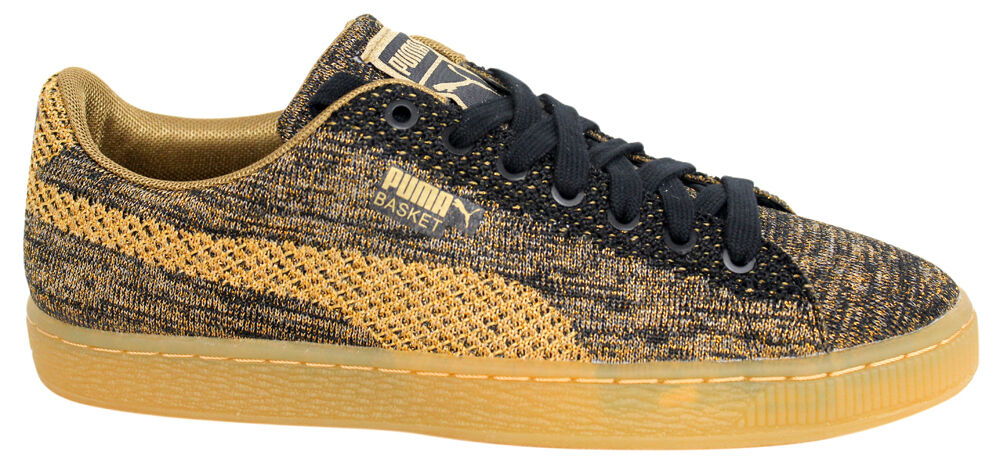 Puma Basket Trainers Knit Metallic Oro Hombre Lace Up Trainers Basket 363087 02 U84 f1d1b0