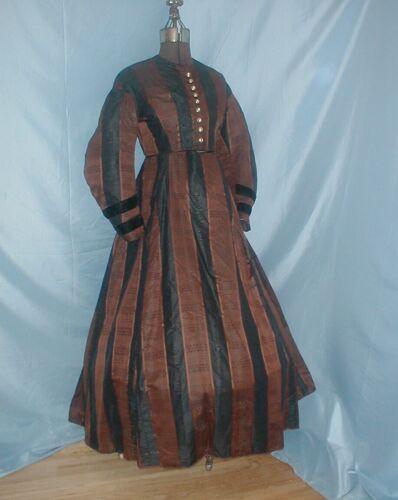 Antique Dress Victorian 1860's Brown and Black Str