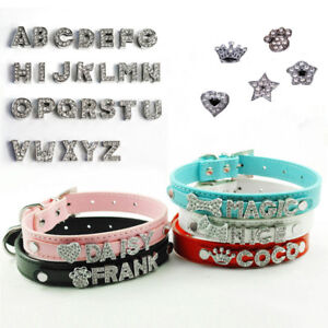 Details About Diy Name Dog Collars Leather Personalized With Rhinestone Letters Pet Cat Collar