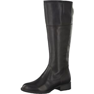 Tamaris-Womens-25508-21-001-Black-Leather-Synthetic-Knee-Length-Winter-Boots