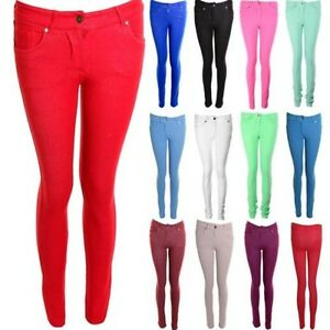 Nouveau Femmes Coupe Skinny Leggings Jeans Femmes Rose Coloré Pantalon Extensible Pantalon