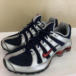 Nike-Shox-Youth-Size-6Y-Womens-size-7-5-Navina-Silver-Denim-313973-451