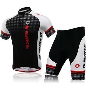 Black-Grid-Cycling-Bike-Short-Sleeve-Clothing-Set-Jersey-Coolmax-Shorts-M-XXL