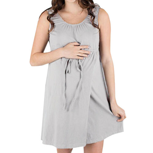 Women Maternity Nursing Nightgown Casual Print Pregnancy Vest Sleeveless Dress
