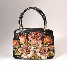"Vintage Floral Wool Needlepoint Rosenfeld Purse Handbag 9.5"" Long"