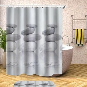 Waterproof-Shower-Curtains-Gray-Extra-Wide-Extra-Long-Standard-With-Hook-Rings