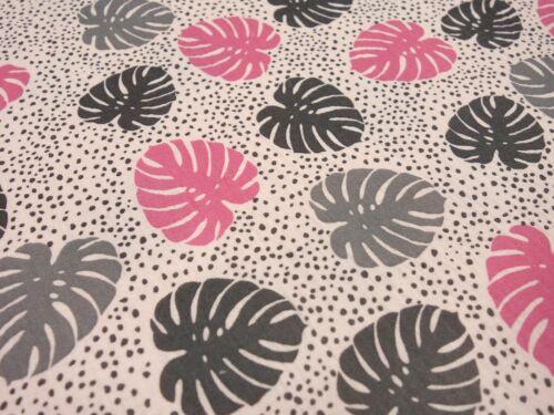Tela de algodón muselina Double gauze hojas rosa malva gris Pink ligera