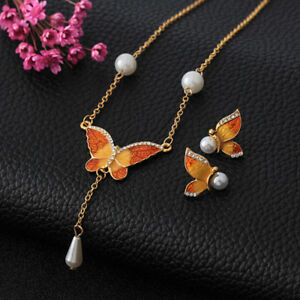 9336b68087675b Details about Wedding Butterfly Imitation Pearls Necklace Earrings Jewelry  Set Hot Gift TB