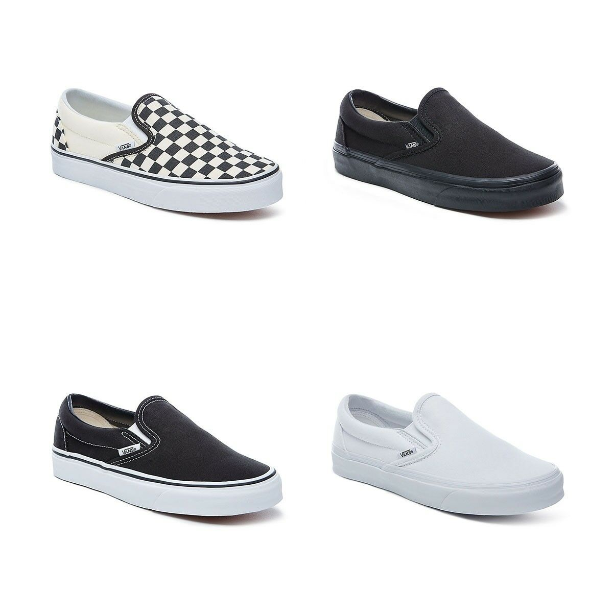 New Vans Slip On Shoes Classic Black White Canvas Sneakers All Sizes נעלי ואנס