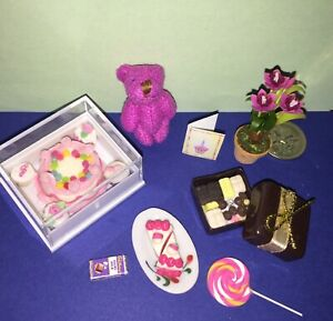 MINI-CUPCAKES-PINK-ICED-CAKE-in-BOX-CHOCOLATES-PINK-BEAR-for-BARBIE-PARTY