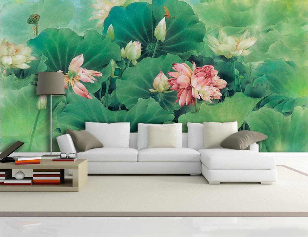 3D Green Lotus Pond 74 Wall Paper Murals Wall Print Wall Wallpaper Mural AU Kyra