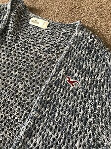 Details about GORGEOUS HOLLISTER BUE FLEC HOLE KNIT CARDIGAN SHALL S SMALL