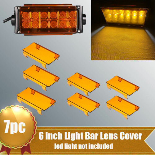 "7x 6/"" Inch Amber Bar Cover Lens for 42/"" Offroad Auto LED Light Lamp Dual Row"
