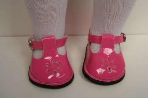 PINK Patent School T-Strap EZ2 Close Doll Shoes For 18 American Girl Dolls (Debs