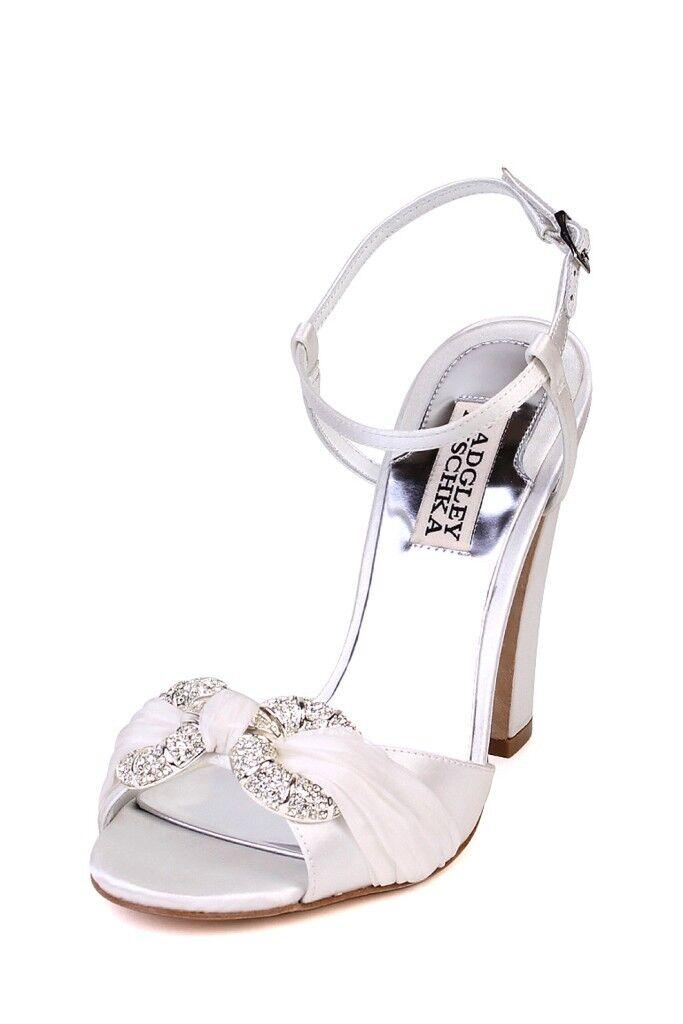 Badgley Mischka  225 JEWELED JEWELED JEWELED blanc Heel Open Toe Pump Jeweled rhinestone Wedding b8b2ef