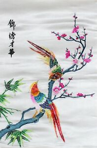 78bed968b8 Details about Handed Original Embroidery Textile Artwork - Flower and Bird  59 x 41cm