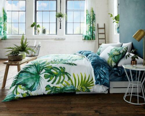 Leafy Botanical Duvet Quilt Cover /& Pillow Case Bedding Set Green White