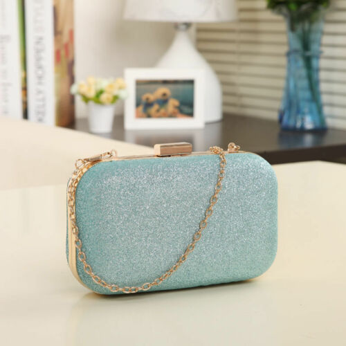 Ladies Shimmer Sparkle Clutch Bag Purse Evening Wedding Party Hardcase Prom