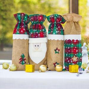 Eg-Santa-Noel-Arbre-Vin-Bouteille-Sac-Housse-Emballage-Diner-Table-Decor-Stri