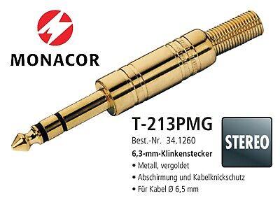 NEU /& OVP T-213PMG Kabelknickschutz MONACOR Klinkenstecker GOLD 6,3mm STEREO