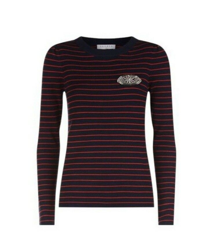 Sandro stripe crystal sweater navy bluee and red embellished eye detail sz 1 = S