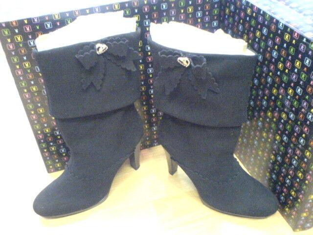 Zapatos especiales con descuento BRAND NEW PLAYBOY WINNIE SUEDE BOOTS BLACK  150 SIZE 3 EURO 36 NEW IN