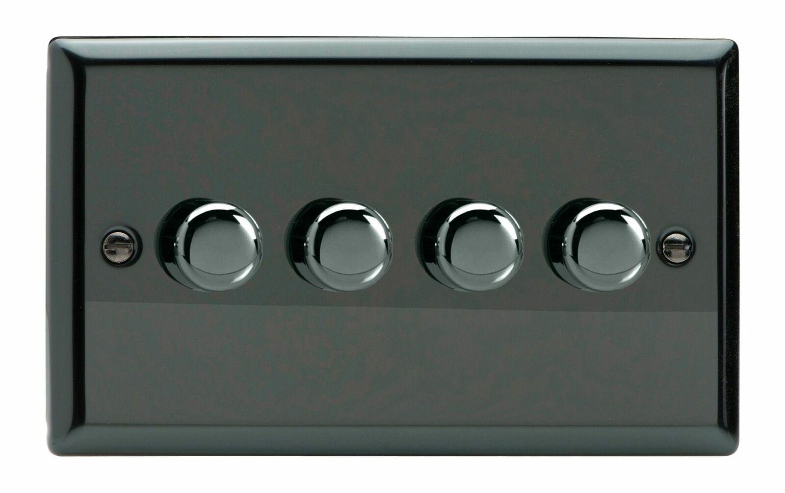 Varilight Iridio jidp 254 Negro 4 Gang 2W Push-ON OFF LED Dimmer 0-120W V-Pro