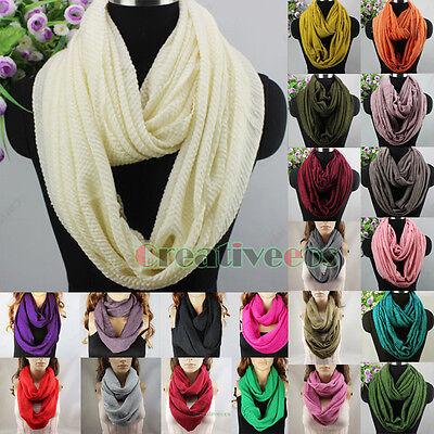 Women Stylish Wool Knit Warm Infinity Scarf Loop Cowl Pleated Cashmere Lady Wrap