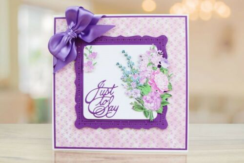 Tattered Lace Dies CHARISMA SPRING BEAUTY Square Frame Flower Metal Dies TLD0602