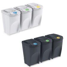 Cubo de Basura de Reciclaje 105L Segregación Juego de 3 Cubos de...