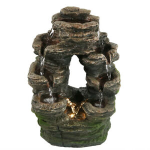 Indoor Water Fountain Lights Led Rock Waterfall Tabletop Home Zen ...